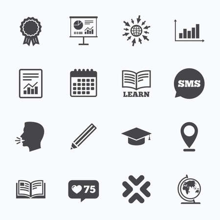 medal like: Calendar, go to web and like counter. Education and study icon. Presentation signs. Report, analysis and award medal symbols. Sms speech bubble, talk symbols. Illustration