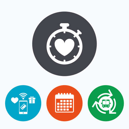 palpitation: Heart Timer sign icon. Stopwatch symbol. Heartbeat palpitation. Mobile payments, calendar and wifi icons. Bus shuttle.