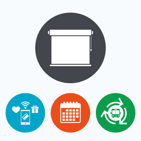 jalousie: Louvers rolls sign icon. Window blinds or jalousie symbol. Mobile payments, calendar and wifi icons. Bus shuttle. Illustration