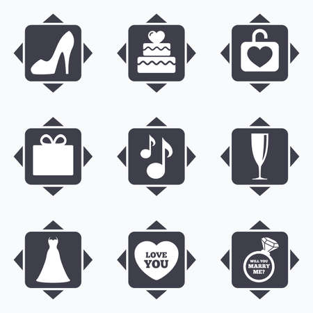 brilliant heart: Icons with direction arrows. Wedding, engagement icons. Cake with heart, gift box and brilliant signs. Dress, shoes and musical notes symbols. Square buttons. Illustration