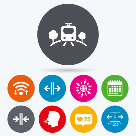 way to go: Wifi, like counter and calendar icons. Train railway icon. Overground transport. Automatic door symbol. Way out arrow sign. Human talk, go to web.