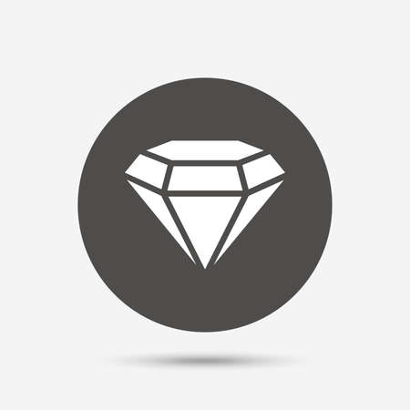 gemstone: Diamond sign icon. Jewelry symbol. Gem stone. Gray circle button with icon. Vector Illustration