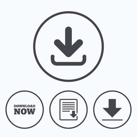 receive: Download now icon. Upload file document symbol. Receive data from a remote storage signs. Icons in circles.