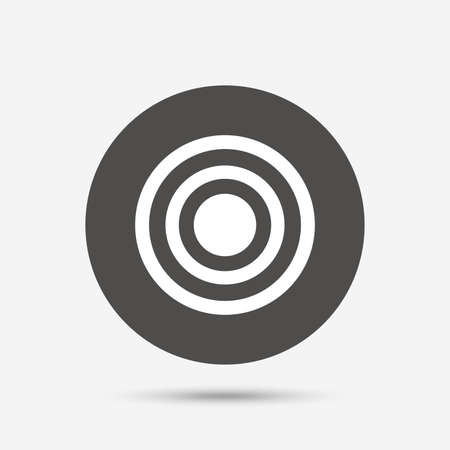 intentions: Target aim sign icon. Darts board symbol. Gray circle button with icon. Vector