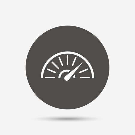 tachometer: Tachometer sign icon. Revolution-counter symbol. Car speedometer performance. Gray circle button with icon. Vector