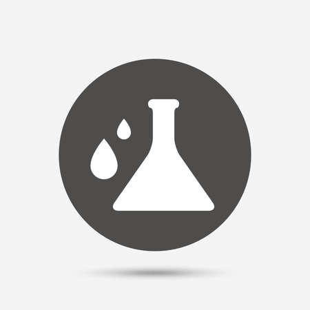 gray bulb: Chemistry sign icon. Bulb symbol with drops. Lab icon. Gray circle button with icon. Vector