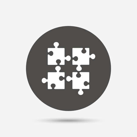 ingenuity: Puzzles pieces sign icon. Strategy symbol. Ingenuity test game. Gray circle button with icon. Vector Illustration