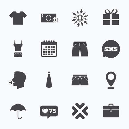 business case: Calendar, go to web and like counter. Clothing, accessories icons. T-shirt, business case signs. Umbrella and gift box symbols. Sms speech bubble, talk symbols.