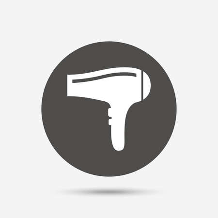 gray hair: Hairdryer sign icon. Hair drying symbol. Gray circle button with icon. Vector