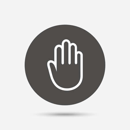 give me five: Hand sign icon. No Entry or stop symbol. Give me five. Gray circle button with icon. Vector
