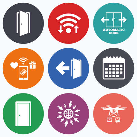 arrow emergency exit: Wifi, mobile payments and drones icons. Automatic door icon. Emergency exit with arrow symbols. Fire exit signs. Calendar symbol.