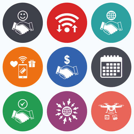 amicable: Wifi, mobile payments and drones icons. Handshake icons. World, Smile happy face and house building symbol. Dollar cash money. Amicable agreement. Calendar symbol.