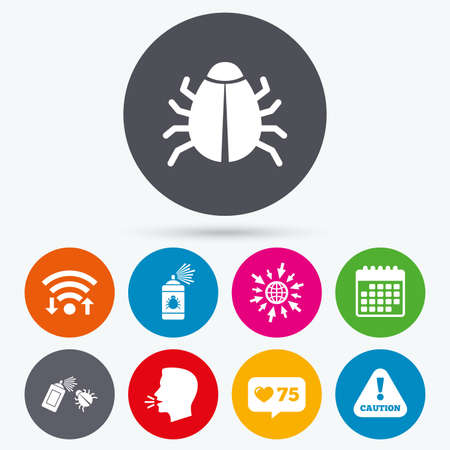 Wifi, like counter and calendar icons. Bug disinfection icons. Caution attention symbol. Insect fumigation spray sign. Human talk, go to web. Illustration