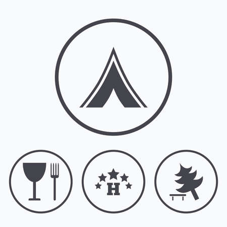 break down: Food, hotel, camping tent and tree icons. Wineglass and fork. Break down tree. Road signs. Icons in circles. Illustration