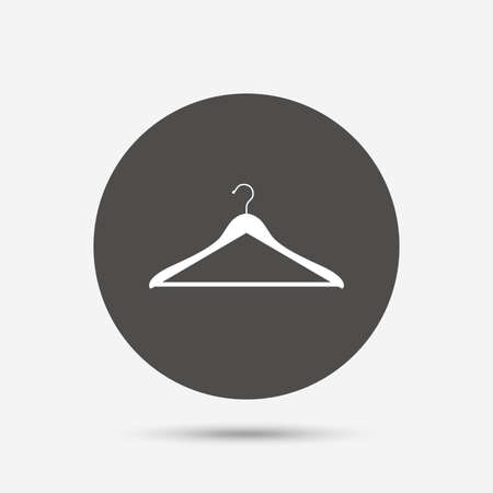 cloakroom: Hanger sign icon. Cloakroom symbol. Gray circle button with icon. Vector