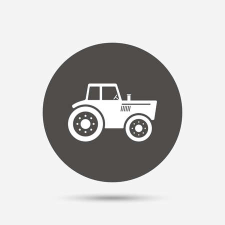 agricultural industry: Tractor sign icon. Agricultural industry symbol. Gray circle button with icon. Vector