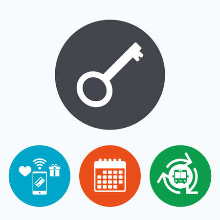 tool unlock: Key sign icon. Unlock tool symbol. Mobile payments, calendar and wifi icons. Bus shuttle.