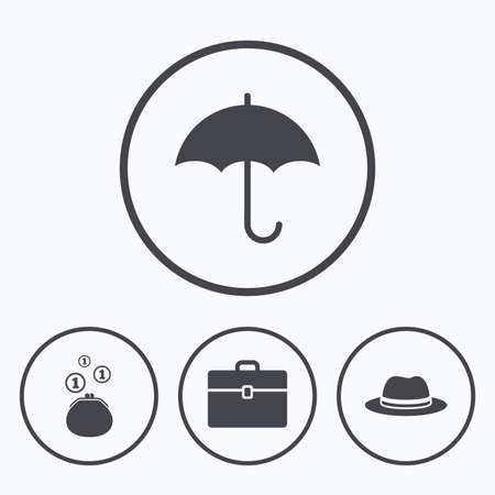 business case: Clothing accessories icons. Umbrella and headdress hat signs. Wallet with cash coins, business case symbols. Icons in circles.