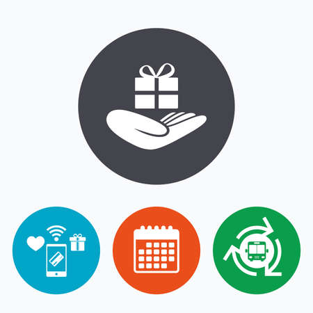 give a gift: Give a gift sign icon. Hand holds present box with bow. Mobile payments, calendar and wifi icons. Bus shuttle.
