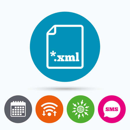 xml: Wifi, Sms and calendar icons. File document icon. Download XML button. XML file extension symbol. Go to web globe.
