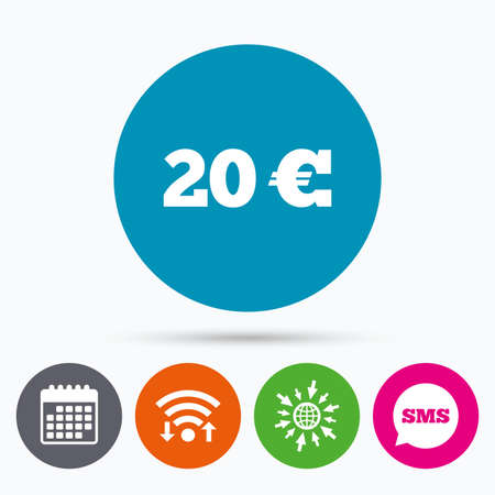 20 euro: Wifi, Sms and calendar icons. 20 Euro sign icon. EUR currency symbol. Money label. Go to web globe.