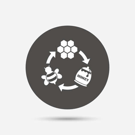 beeswax: Producing honey and beeswax sign icon. Honeycomb cells symbol. Honey in pot. Sweet natural food cycle in nature. Gray circle button with icon. Vector