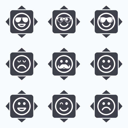 wink: Icons with direction arrows. Smile icons. Happy, sad and wink faces signs. Sunglasses, mustache and laughing lol smiley symbols. Square buttons. Illustration