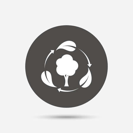 fresh air: Fresh air sign icon. Forest tree with leaves symbol. Gray circle button with icon. Vector