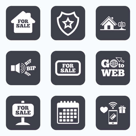 house for sale: Mobile payments, wifi and calendar icons. For sale icons. Real estate selling signs. Home house symbol. Go to web symbol.