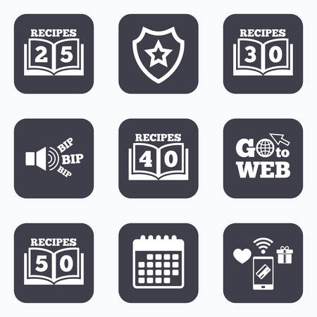 25 to 30: Mobile payments, wifi and calendar icons. Cookbook icons. 25, 30, 40 and 50 recipes book sign symbols. Go to web symbol.