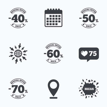 good break: Calendar, like counter and go to web icons. Sale discount icons. Special offer stamp price signs. 40, 50, 60 and 70 percent off reduction symbols. Location pointer.