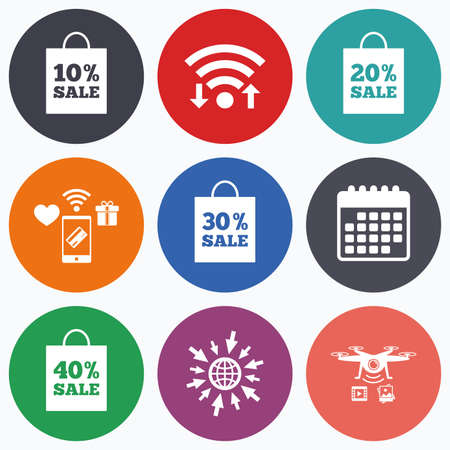 reductions: Wifi, mobile payments and drones icons. Sale bag tag icons. Discount special offer symbols. 10%, 20%, 30% and 40% percent sale signs. Calendar symbol.