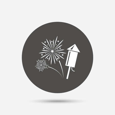 pyrotechnic: Fireworks with rocket sign icon. Explosive pyrotechnic symbol. Gray circle button with icon. Vector