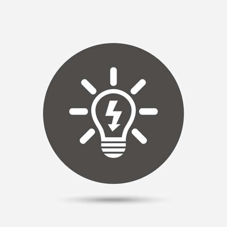 gray bulb: Light lamp sign icon. Bulb with lightning symbol. Idea symbol. Gray circle button with icon. Vector Illustration