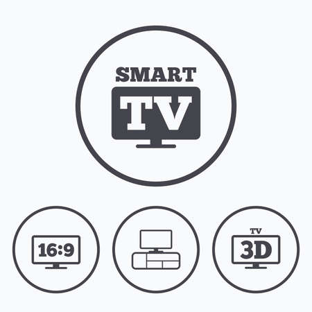 the ratio: Smart TV mode icon. Aspect ratio 16:9 widescreen symbol. 3D Television and TV table signs. Icons in circles.