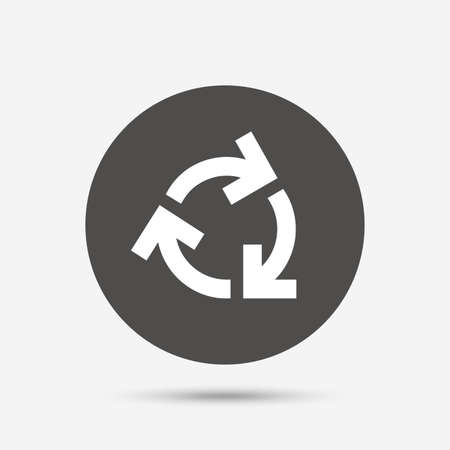 reduce: Recycling sign icon. Reuse or reduce symbol.. Gray circle button with icon. Vector
