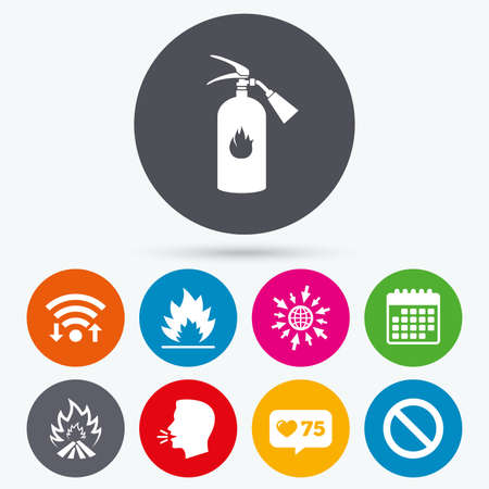 flame like: Wifi, like counter and calendar icons. Fire flame icons. Fire extinguisher sign. Prohibition stop symbol. Human talk, go to web. Illustration