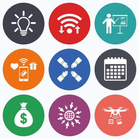 standing lamp: Wifi, mobile payments and drones icons. Presentation billboard icon. Dollar cash money and lamp idea signs. Man standing with pointer. Teamwork symbol. Calendar symbol. Illustration