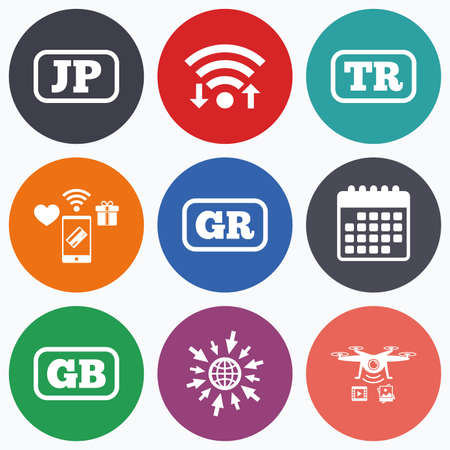 tr: Wifi, mobile payments and drones icons. Language icons. JP, TR, GR and GB translation symbols. Japan, Turkey, Greece and England languages. Calendar symbol. Illustration