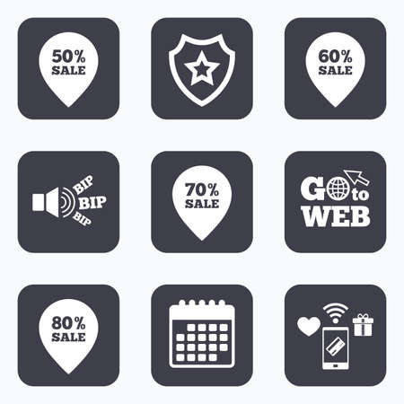 60 70: Mobile payments, wifi and calendar icons. Sale pointer tag icons. Discount special offer symbols. 50%, 60%, 70% and 80% percent sale signs. Go to web symbol.