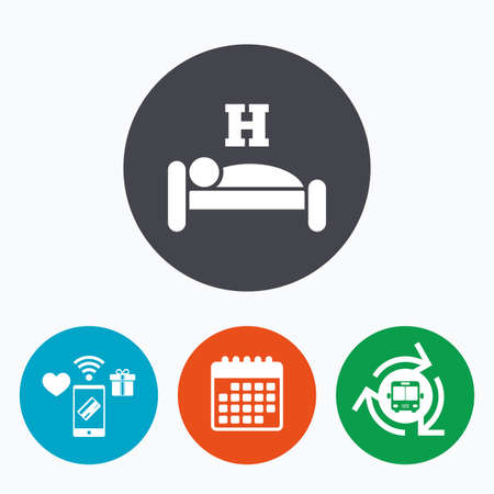 sleeper: Hotel apartment sign icon. Travel rest place. Sleeper symbol. Mobile payments, calendar and wifi icons. Bus shuttle.