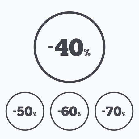 40 50: Sale discount icons. Special offer price signs. 40, 50, 60 and 70 percent off reduction symbols. Icons in circles.