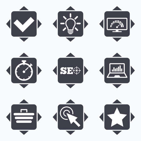 bandwidth: Icons with direction arrows. Internet, seo icons. Bandwidth speed, online shopping and tick signs. Favorite star, notebook chart symbols. Square buttons.