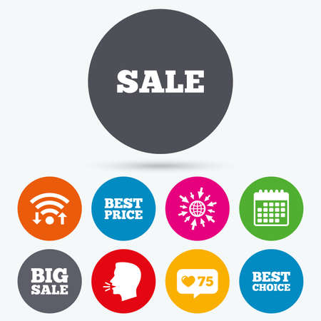 talk big: Wifi, like counter and calendar icons. Sale icons. Best choice and price symbols. Big sale shopping sign. Human talk, go to web. Illustration
