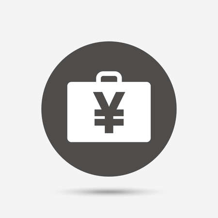 jpy: Case with Yen JPY sign icon. Briefcase button. Gray circle button with icon. Vector Illustration