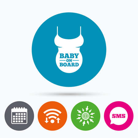 big breast: Wifi, Sms and calendar icons. Pregnant woman shirt sign icon. Baby on board. Maternity symbol Go to web globe.