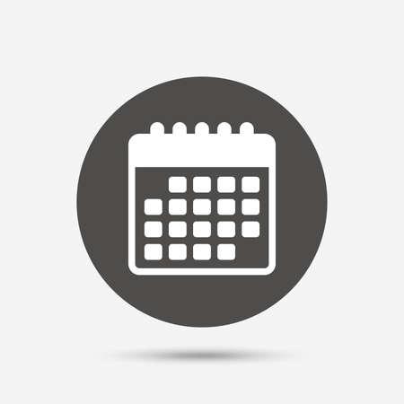 Calendar icon. Event reminder symbol. Gray circle button with icon. Vector Иллюстрация