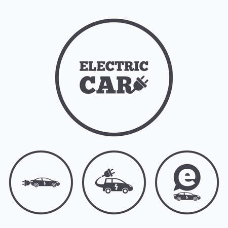 hatchback: Electric car icons. Sedan and Hatchback transport symbols. Eco fuel vehicles signs. Icons in circles.