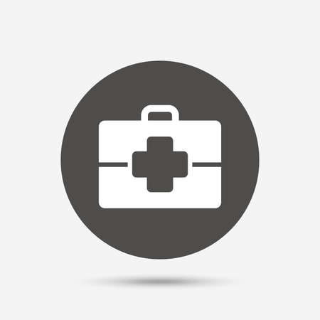 medical case: Medical case sign icon. Doctor symbol. Gray circle button with icon. Vector Illustration
