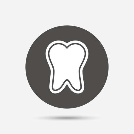 enamel: Tooth enamel protection sign icon. Dental toothpaste care symbol. Healthy teeth. Gray circle button with icon. Vector